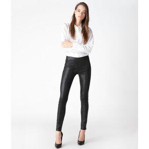 Edita Black Mid Rise Legging In Leather